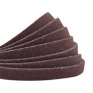 90cm  DQ leer suède plat 5mm Donker bruin