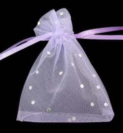 c.a. 100 organza zakjes 10 x12 cm paars-lila met stippen