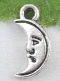 5 x Tibetaans Zilveren 3 -D maantje 13 x 6 x 3mm
