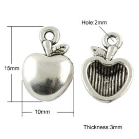 10 x Tibetaans zilveren bedeltje van een appel 15 x 10 x 3mm, Oogje: 2mm