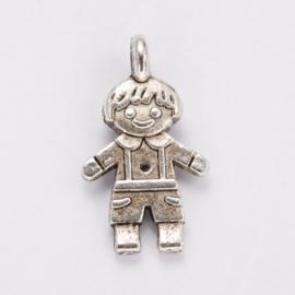 Per stuk Antiek zilveren metalen bedel jongetje 16 mm