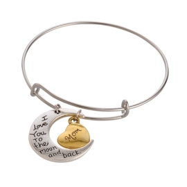 Prachtige verstelbare armband met bedels I love you to the moon and back - Mom diameter c.a. 65mm ♥