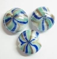 Per stuk Luxe glaskraal plat rond blauw/aqua/lila 20 mm