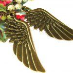 2 x Prachtige grote Tibetaans zilveren Engelen vleugel, geel koper 56 x 26 x 2mm Gat 2,5mm
