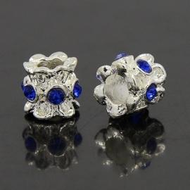 1 stuks European Jewelry kralen met bergkristal, erg mooi!! 10mm x 10mm blauw