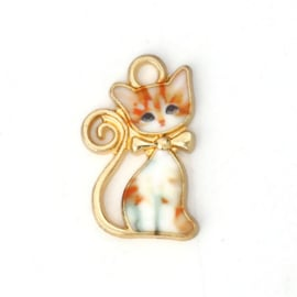 Super leuke DQ Gold Plated bedel van een kat met Emaille 21 x13mm oogje: 2,3mm