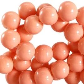 15 stuks Keramische Glaskralen 8mm  Peach bud