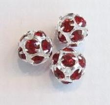 Verzilverde kristal ballen 12mm bordeaux rood