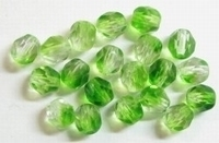 10 Stuks Glaskraal facet Peridot/transparant 6 mm