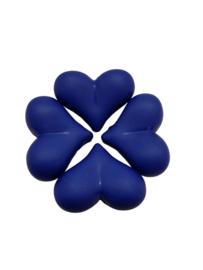 5 x Acryl kraal met hart Diep Blauw 17 x 22 x 10 mm; Gat 2 mm