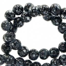 15 stuks Glaskraal gemêleerd 8 mm stone look Black-white