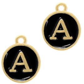 1 x Basic Quality metalen bedels letter Goud-zwart 14x12mm (Ø1.5mm)