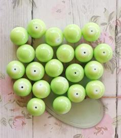 10 stuks Keramische glaskralen  12mm appel groen