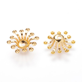 5 x Prachtig kralenkapje goudkleur 12~14 x 3.5mm, Gat: 1,5mm