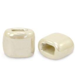 1 x C.U.S sieraden schuiver DQ Grieks keramiek 11x12mm Linen white