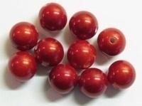 10 stuks Luxe kunststof kraal rond rood met mooie glans 10 mm