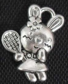 6 x Tibetaans zilveren bedel van een tennis hello kittty 16 x 11,5mm