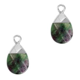 1 x Natuursteen hangers Dark green marble-silverTurquoise