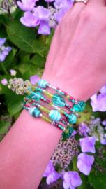 Memory wire armband in groen tinten ♥