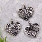 4 x Prachtige Tibetaans zilveren hanger hartje 15 x 17 x 4mm