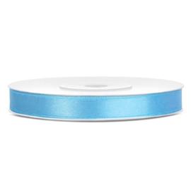 1 meter satijnlint lint 7 mm breed (smal) licht blauw