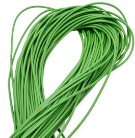 100 cm hol Rubber DQ koord 2mm per meter geknipt groen