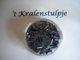Pracht - glasstiften buisjes met zilverinslag 6mm 17 gram antraciet