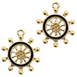 1x Basic quality metalen bedels wheel Gold-black 24x20 mm