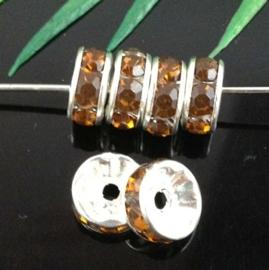 50 stuks Verzilverde Kristal Rondellen 8 mm Topaas