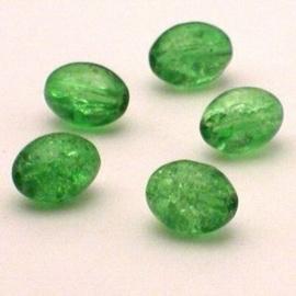 30 stuks crackle glas kralen ovaal 11 x 8,5mm groen