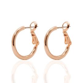 2 stuks oorbellen DQ creolen 18 mm Rosé goud plated