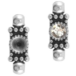 1x DQ setting 2 ogen voor SS24 puntsteen Antiek zilver ca. 20x7mm (voor SS24 puntsteen 5,3mm)