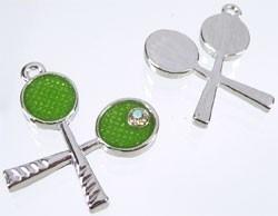 2x Tibetaans zilveren hanger tennisracket met epoxy, strass en glitter 31x18mm