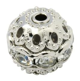 Verzilverde kristal ballen 10mm kristal