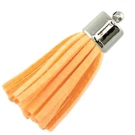 Prachtig kwastje van suede en messing 38mm zacht oranje
