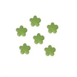 10 x Kinderkralen acryl bloem Groen 12 mm