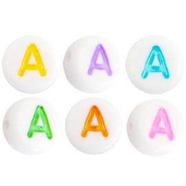 Per stuk Letterkralen van acryl letter X Multicolor-Wit 7mm