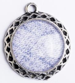 1 x Glazen Denim bedel; 16 mm Ø, oog 2 mm