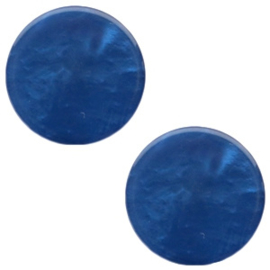 1 x 12 mm platte cabochon Polaris Elements Mosso shiny Radiant blue