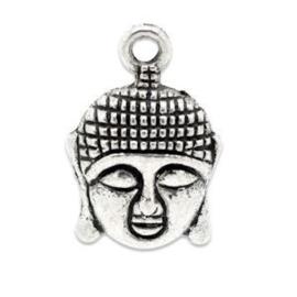 2 x Metalen Bedel Buddha Antiek Zilver 22x15 mm