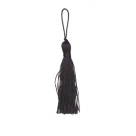 Zwarte satijn kwast lengte kwast 9 cm incl. lus 11,5cm