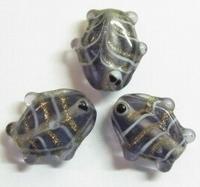 3x Glaskraal vis paars 20 mm