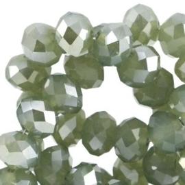 15 x Top facet kralen 8x6mm disc Vintage turmaline green opal