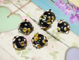 5 x High Quality Glass Hand Made Bead 117 afm. ca. 12 x 20mm