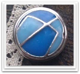 Per stuk Mooie Metalen zilveren drukker met blauwe epoxy 18 mm