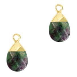1 x Natuursteen hangers Dark green marble-gold African Turquoise