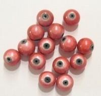 10 stuks 3D miracle kraal,  licht rood rond 8mm gat c.a. 1,5mm