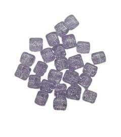10 Stuks glaskraal crackle kubus transparant lila 8 x 9 mm