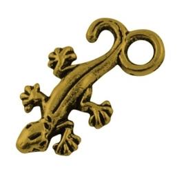 Tibetaans zilveren bedeltje van een Gecko hagedis 22,5 x 12 x2mm gat: 3,5mm goudkleur