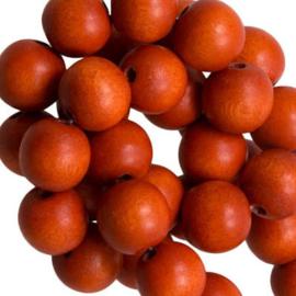 30 x Houten Kralen Vintage Nature Rusty Orange 6mm